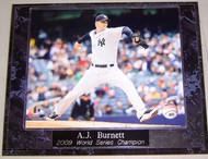 A.J. Burnett New York Yankees 2009 World Series Champion 10.5x13 Plaque
