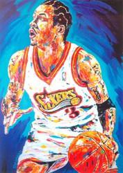 Allen Iverson Philadelphia 76ers NBA 6x8.5 John Stango Postcard