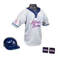 Atlanta Braves Franklin Youth MLB Kids Team Helmet, Jersey & Wristband Set