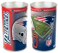 New England Patriots NFL Team Logo Wincraft Metal Tapered Wastebasket Trash Can
