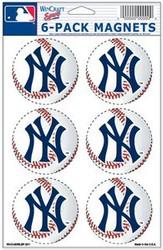 New York Yankees MLB Team Logo Wincraft Magnet 6-Pack