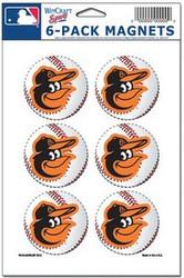 Baltimore Orioles MLB Team Logo Wincraft Magnet 6-Pack