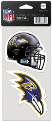 """Baltimore Ravens NFL Team Logo Wincraft 4"""" x 4"""" Die Cut Full Color Decal 2-Pack (4""""x8"""")"""