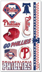 Philadelphia Phillies Team MLB Logo Wincraft Temporary Tattoos Sheet