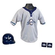 Milwaukee Brewers Franklin Youth MLB Kids Team Helmet, Jersey & Wristband Set