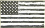 American Flag Black & White 21x33.5 John Stango Original Abstract Art Acrylic On Canvas Painting