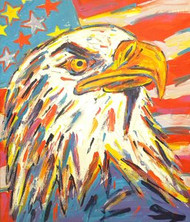 American Bald Eagle & Flag 33.5x39.5 John Stango Original Abstract Art Acrylic On Canvas Painting