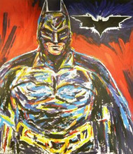 Batman 38.5x43.5 John Stango Original Abstract Art Acrylic On Canvas Painting