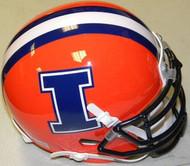 Illinois Fighting Illini Orange w/ Blue I Logo Schutt NCAA College Football Authentic Team Mini Helmet