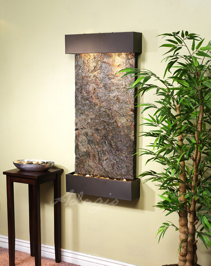 Adagio whispering creek wall fountain serenity health antique bronze with green slate workwithnaturefo