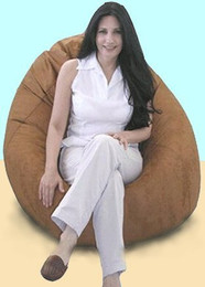 Suede Bean Bag Chair - Pod Shaped