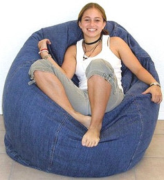 Pod Shaped Denim Bean Bag Chair