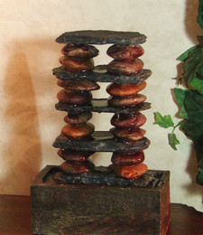 Alpine Slate and Stone Tower Tabletop Fountain