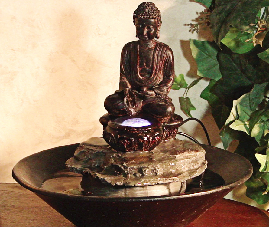 Alpine Garden Buddha Cobblestone Fountain LED Light Image 692