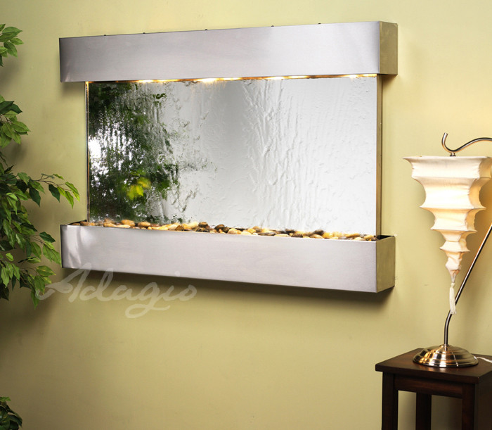 ... Choose This Wall Fountain Featuring Shiny Stainless Steel And A  Mirrored Face. The Elegant Design Is Complemented By The Soothing Sounds Of  Water.