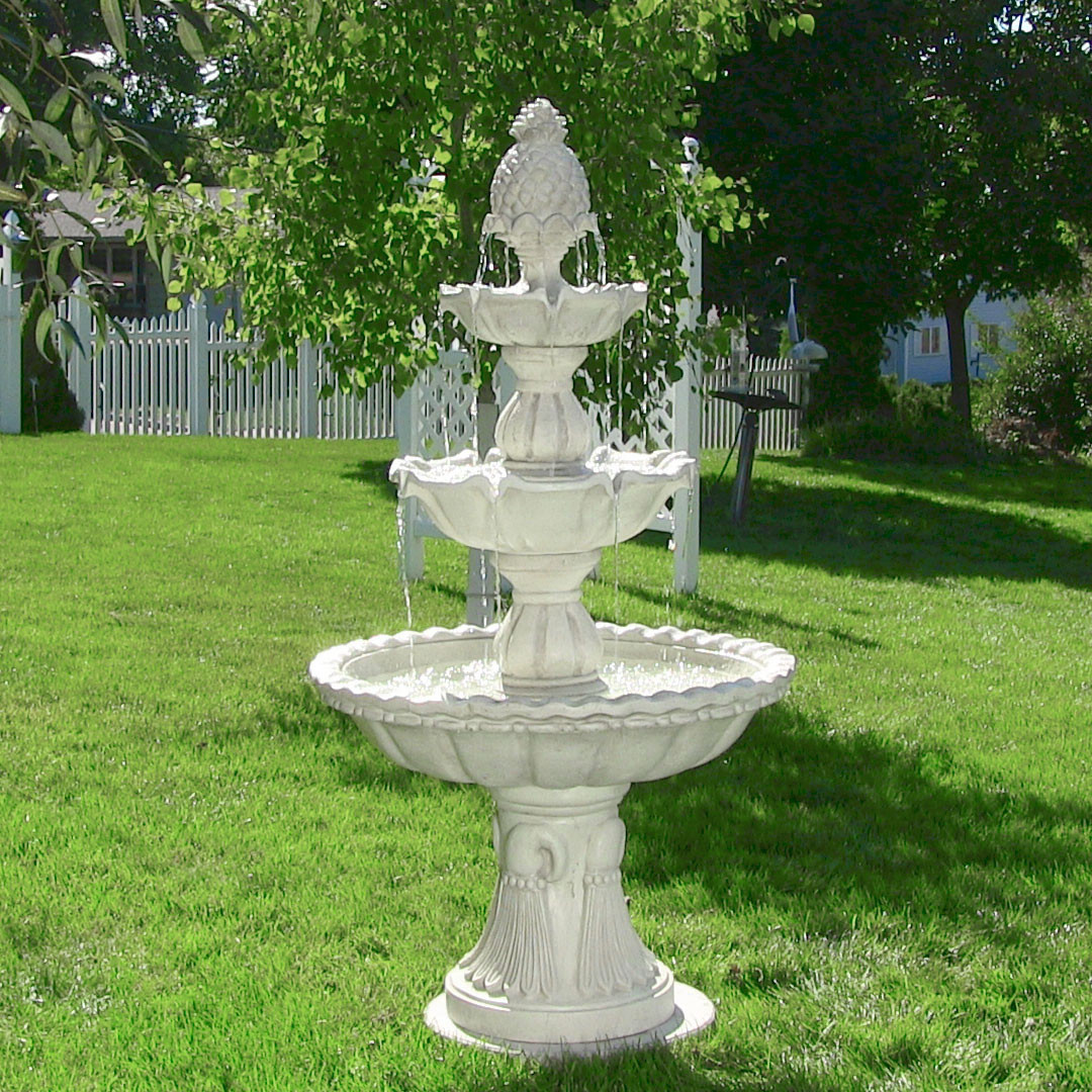Garden Fountain: Sunnydaze Welcome 3-Tier Garden Fountain, 59-Inch Tall