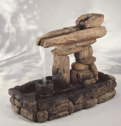 Rustic Cast Stone Inuksuk Guide Fountain by Henri Studio