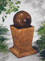 Henri Studio Cast Stone Sphere on Low Pedestal Fountain