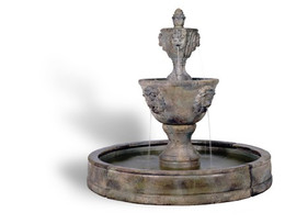 Medium Cast Stone Two Tier Leonesco in Valencia Fountain by Henri Studio
