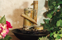 Alpine Large Eternity Bamboo Slide Tabletop Fountain