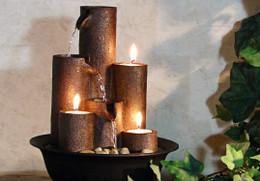Alpine Eternity Three Candles Tabletop Fountain