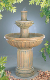 Tiered Cast Stone Fluted Fountain by Henri Studio