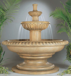 Palazzo Fluted Cast Stone Outdoor Stone Fountain by Henri Studio