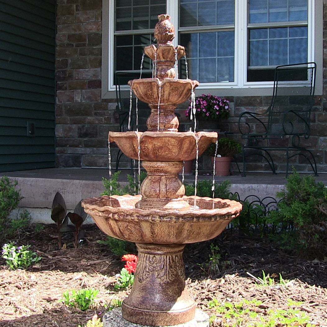 Sunnydaze 4 tier pineapple outdoor water fountain 52 Outdoor water fountains