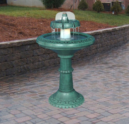 Decorative Lighted Fountain Birdbath