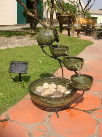 Smart Solar Ceramic Solar Cascading Fountain Glazed Bamboo Desig Picture 462