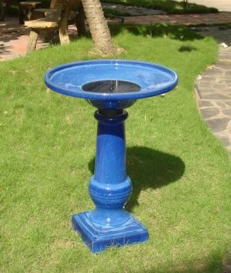 Smart Garden RM Athena Glazed Blue Ceramic Birdbath Fountain Solar on Picture 231