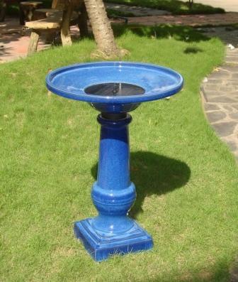 Smart Garden RM Athena Glazed Blue Ceramic Birdbath Fountain Solar on Image 160