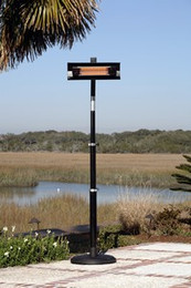 Telescoping Offset Pole Mounted Infrared Patio Heater - Black Powder Coated Steel