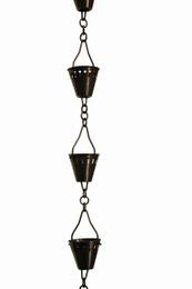 Antique Copper Shade Cup Rain Chain