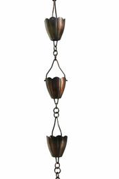 Antique Copper Flower Cup Rain Chain