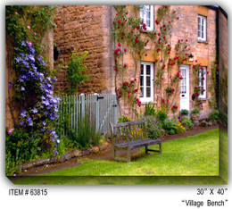 Village Bench Canvas Wall Art