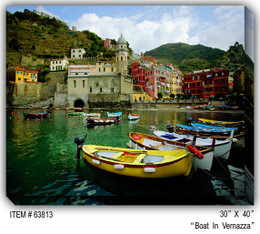 Boat In Vernazza Canvas Wall Art
