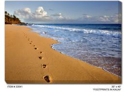 Footprints in Kauai Canvas Wall Art