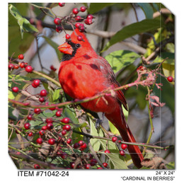 Cardinal in Berries Canvas Wall Art