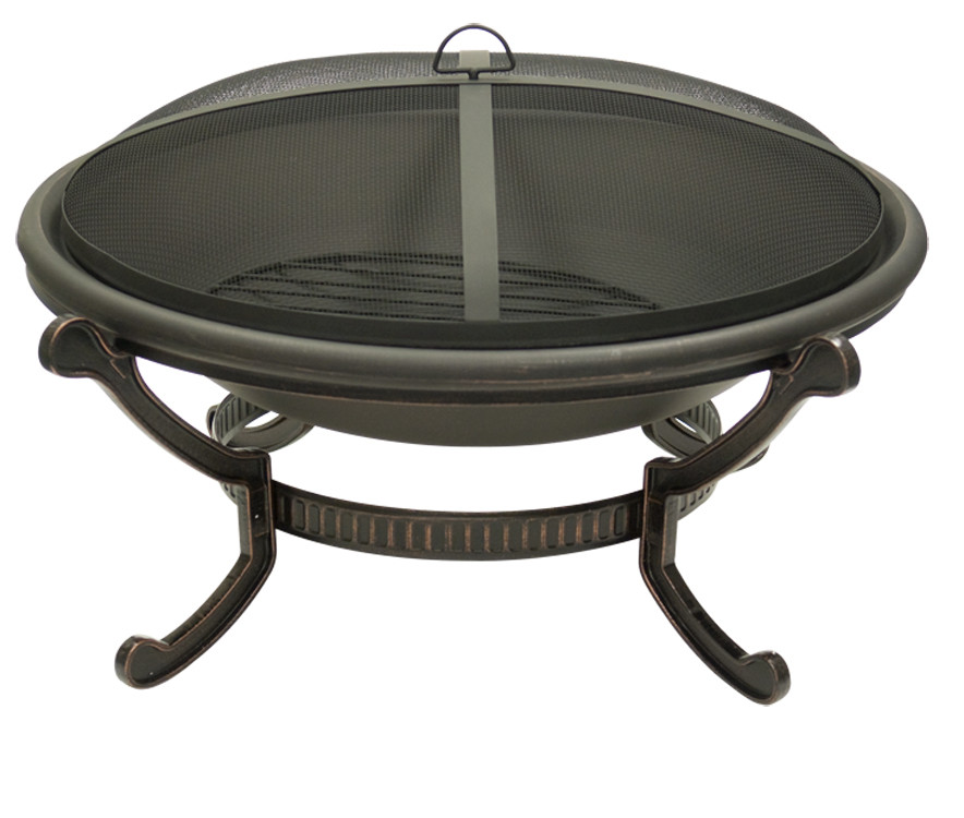 Large Round Cast Iron Bronze Fire Pit Spark Guard Screen Photo