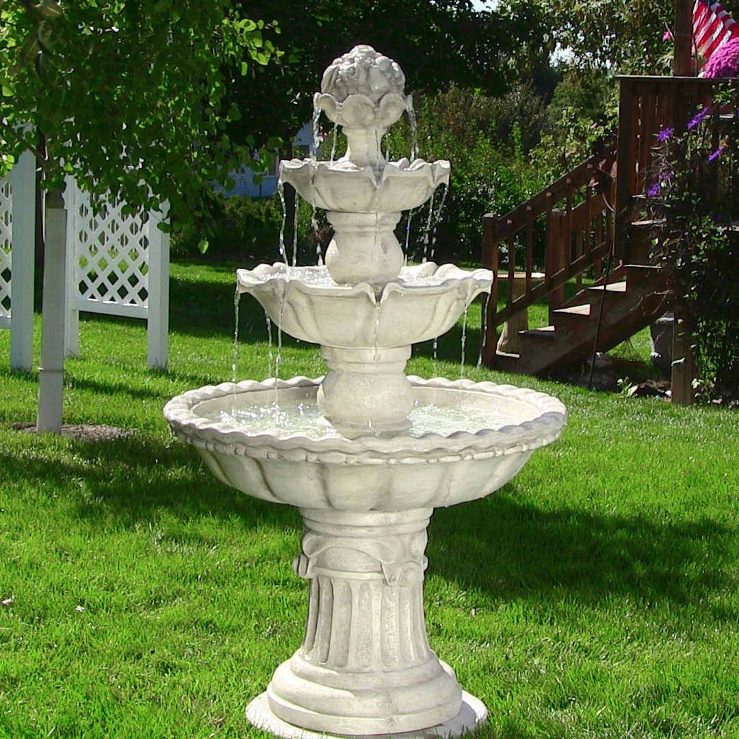 Sunnydaze 4-Tier White Electric Fountain with Fruit Top