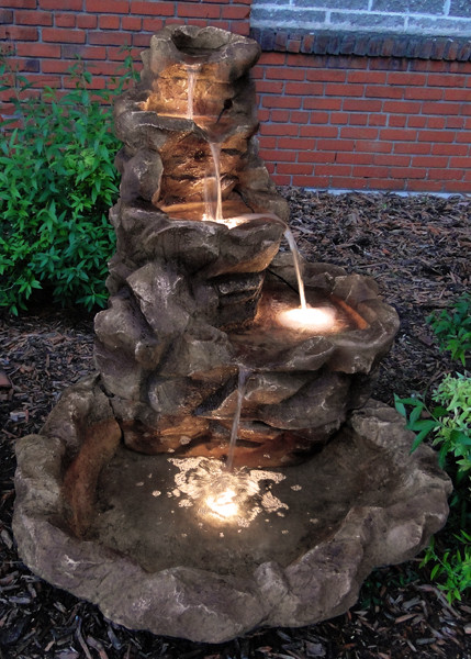 ... Lighted Stone Springs Outdoor Fountain - Evening ... - Sunnydaze Lighted Stone Springs Outdoor Water Fountain