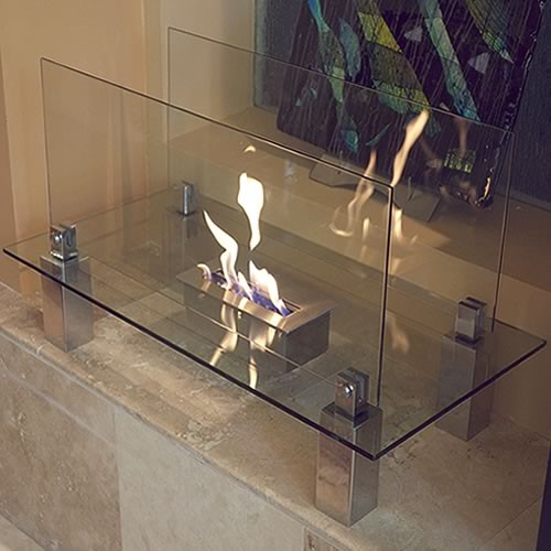 Fiero Freestanding Fireplace Tempered Clear Glass Brushed Stainless Steel Picture 78