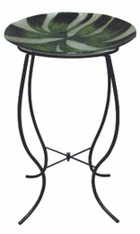 Green Abstract Glass Birdbath w/ Stand