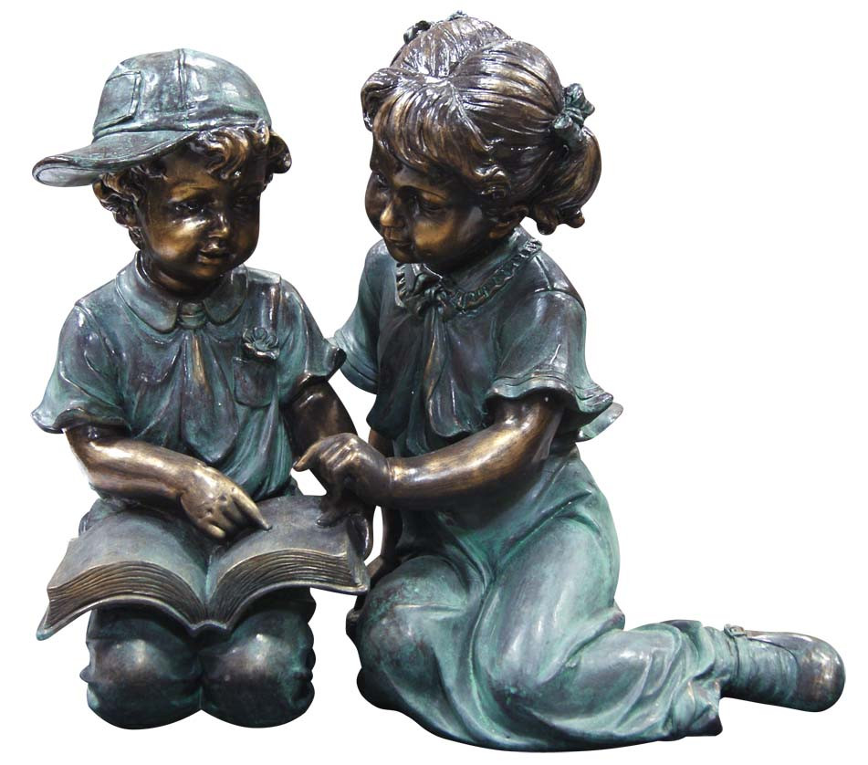Alpine Boy Girl Reading Together Garden Statue Picture 438