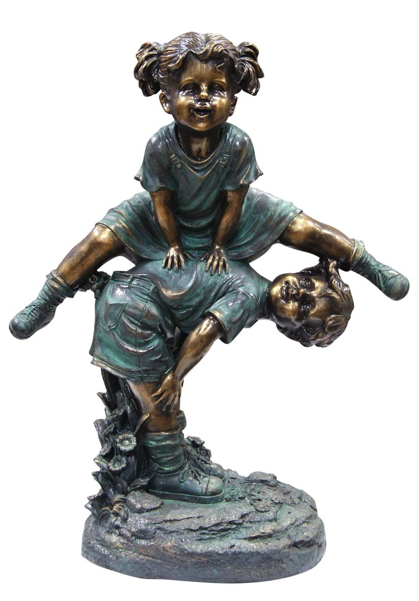 Alpine Girl Jumping Over Boy Garden Statue Photo
