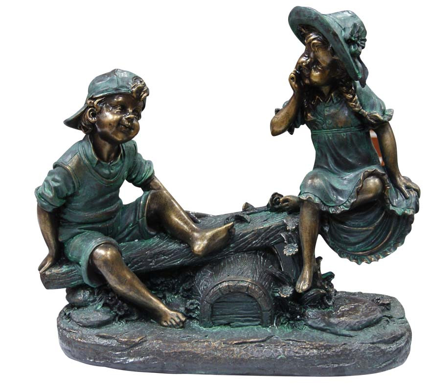 Alpine Girl Boy Playing on Teeter Totter Garden Statue Image 140
