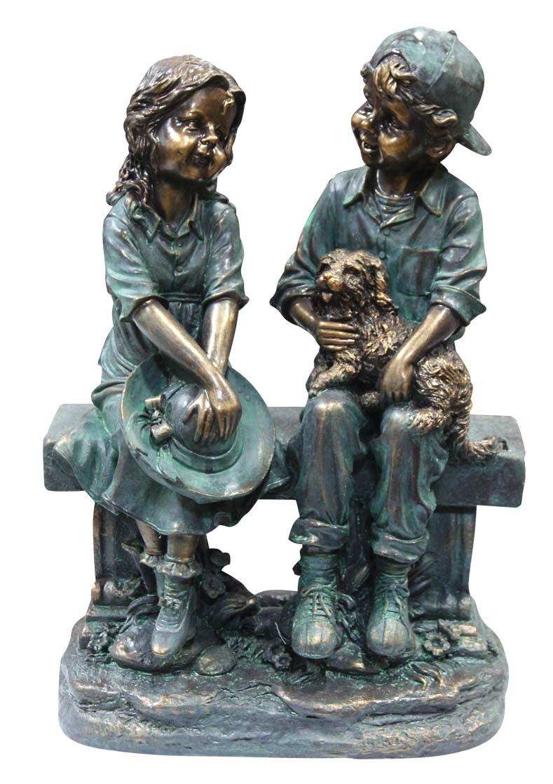 Alpine Corp Girl Boy Sitting on Bench Puppy Garden Statue Picture 680