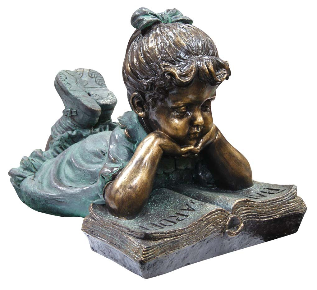 Alpine Girl Laying Down Reading Book Garden Statue Picture 462