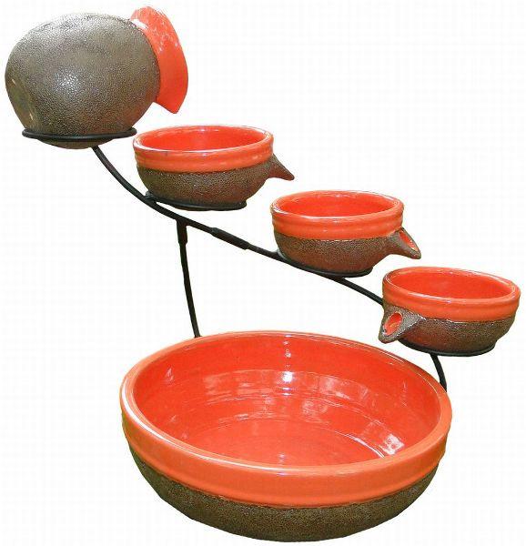 Smart Solar Ceramic Solar Cascade Fountain Tangerine Rustic Finis Picture 484